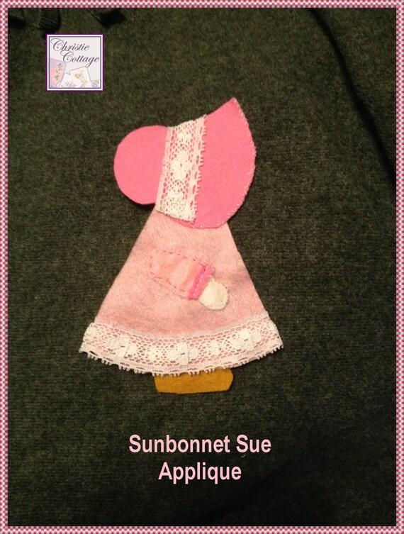 Sunbonnet Sue Applique, Handmade, Pink, 001