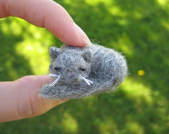 Needle Felted Sleeping Gray Cat Miniature Kitty