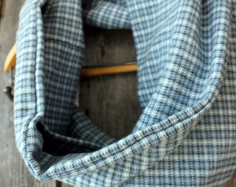 Blue Small Plaid Flannel Infinity Scarf