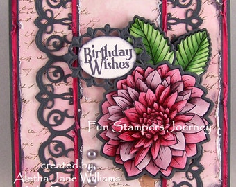 Dahlia Birthday Wishes Rubber Stamped Art Greeting Card
