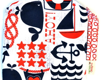 Small 9 x 9 Wet bag / Snack / Swim / Diapers / Ahoy Matey Nautical Fabric  / SEALED SEAMS and Snap Strap