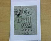 Beastie- cake!! Blank greeting card - small original ink drawings