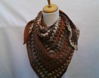Cotton Rayon blend, Fall Triangle Crochet Shawl, scarf half granny square