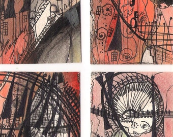 No. 1006, ACEO Card Set of 4 Art Cards