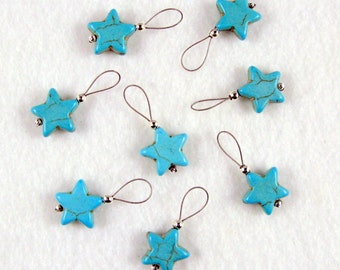 Turquoise Star Stitch Markers - Set of 8 - US 10 - Item No. 975