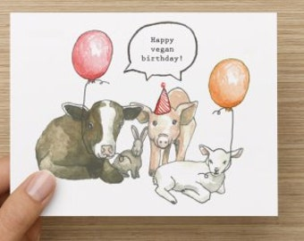 Happy Vegan Birthday Recycled Paper Folded Greeting Card