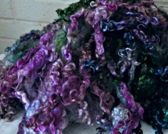 Teeswater Wool Fleece - Hand Dyed Curly Wool Locks - Spinning Fiber - Felting Fiber - Green, Purple Locks - Medusa