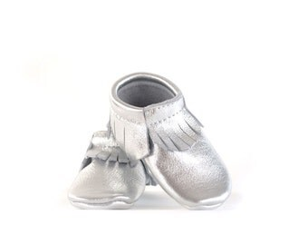 Baby Moccasins- Silver Leather