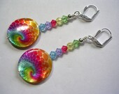 Rainbow Happy Trippy Hippy Earrings Mother of Pearl Shells Swarovski Crystal Wire Wrapped Leverback Dangle Earrings