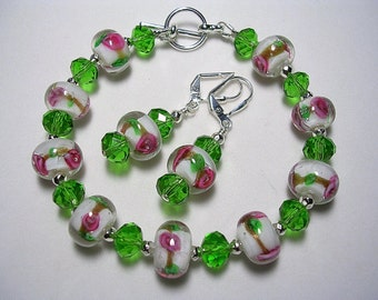 Green Bracelet Pink Bracelet Pink Green Earrings Leverback Hooks Toggle Bracelet Silver Wire Wrapped Gifts under 10