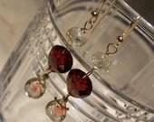 RESERVED...Oregon Sunstone briolette, Pyrope garnet, Gold rutilated quartz, 14K solid gold earrings