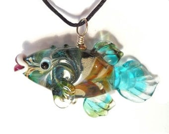 Green, teal & aqua Fish Lampwork glass bead, handmade art glass pendant designer diver jewelry supplies, ocean focal bead, SRAJD, CGGE
