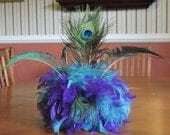 For MichelleB  6 Peacock themed bouquets, purple, blue, peacock eyes, swords