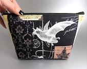 Bat Enthusiast - Zippered pouch - Damask - Make-up bag - Zippered bag - Gothic - Nevermore Fabric - Black - Bat - Leaf