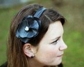 Bike Inner tube headband, upcycled headband, fashion giftsvc, large flower, gift for her, present for her, refurbish, upcycled, for her #299
