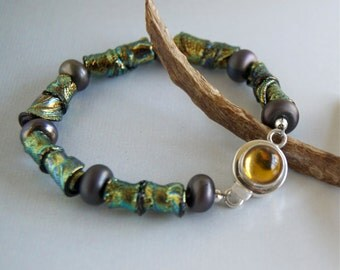 Dichroic Bracelet Iridescent Beaded Bracelet Dichroic Glass Fused Glass Metallic Lampwork Sterling Glass Clasp Unique Handmade Bracelet