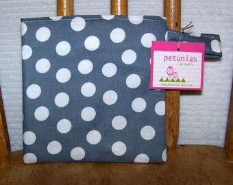 Reusable Little Snack Bag - pouch adults kids gray dots eco friendly by PETUNIAS