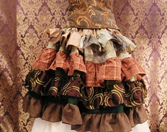 "Patchwork Knee-Length ""Dryad Dress Code"" Saloon Style Scrap Skirt"