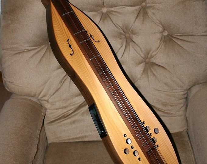 Western Cedar Mountain Dulcimer, 4-string Hour-glass, with Custom Case and Optional Electric