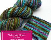 Katatomic Watercolor Stripes, Self Striping Hand Dyed Targhee Sock Yarn - Dyed to Order
