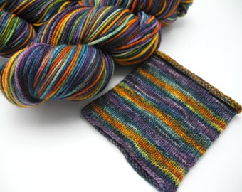 Flower Shop Inferno Watercolor Stripes - Self-Striping Targhee Sock Yarn Made to Order
