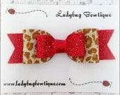 Wild Animal ~ Wool Felt Glitter Medium Hair Bow ~ Red Sparkle ~ French Barrette Alligator Clip or Skinny Elastic ~ Christmas Cheetah