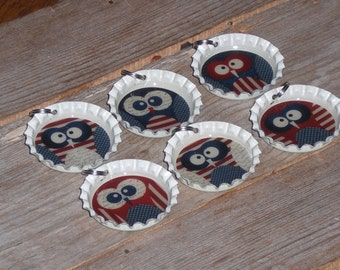 Set of 6 Ecru White Bottle Cap Charms Americana Red White Blue Patriotic July 4 Owl Mini Tree Ornaments Party Favors Jewelry