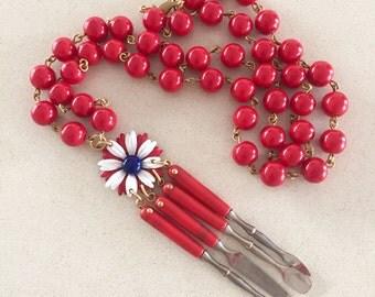 4th of July, Vintage necklace, statement necklace, manicure set, enamel flower, red