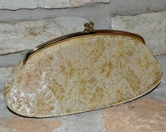 FORMAL DRAMA - vintage 1960s Evening Lights gold and cream brocade clutch by Avon
