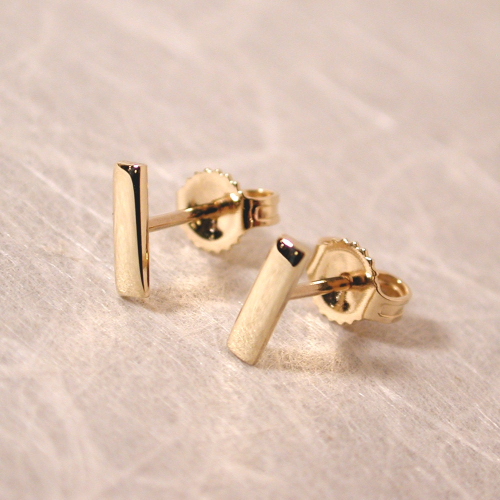 7mm x 2mm 14k gold bar stud earrings 14k yellow gold studs