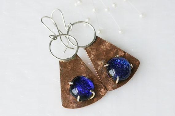 Silver, Copper and Glass Earrings Drop Earrings Dangle Earrings Jewelry