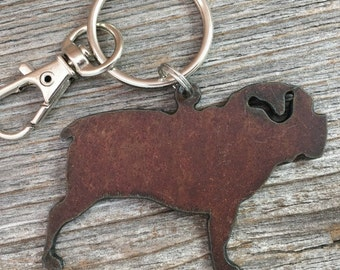Pug or Bulldog Christmas Ornament or Key Ring ~ Dog Keychain ~ Pet Key Chain ~ Can be Customized