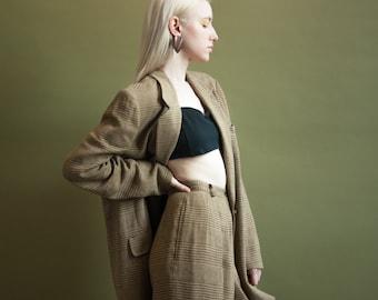 ANNE KLEIN plaid woven pant suit / oversized pant suit / long blazer / s / 834o