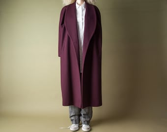 reserved. the lady vanishes oversized maroon winter coat / voluminous heavy weight coat / simple classic coat / m / l / 1018o