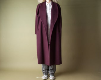 the lady vanishes oversized maroon winter coat / voluminous heavy weight coat / simple classic coat / m / l / 1018o
