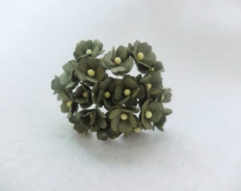 20 army green mulberry paper hydrangea - mini paper flowers - 1.5cm paper flowers