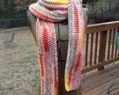 Long scarf crochet headrap orange green yellow minimalist clothing vegan scarf