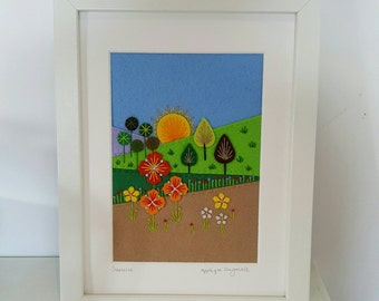 SUNRISE framed original hand embroidered, unique textile folk art pictured re, wall art, home decor, Scandinavian, mid centur