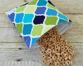 Blue Quatrefoil- Medium Reusable Sandwich Bag from green by mamamade