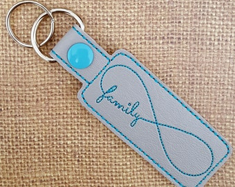 SALE - Embroidered Key Chain - Family Infinity