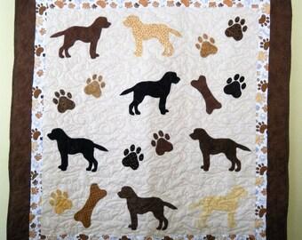 Labrador Retrievers quilt throw size  -  50 x 52 inches