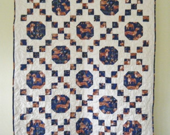 Dachshunds Doxie - Irish Chain Quilt