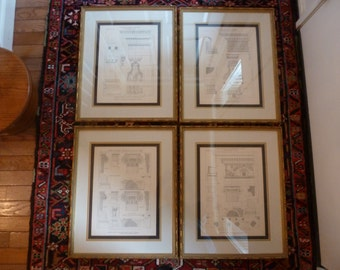 Architectural Drawings, Vintage Architectural Book Plates, Framed Book Plates, Greek Column Book Plates, Framed Greek Column Pictures