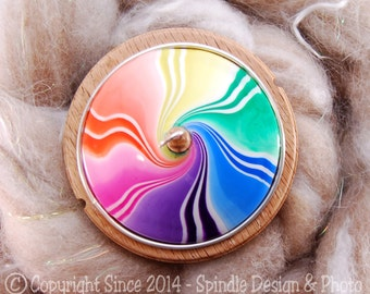 The Clay Sheep Drop Spindle - Rainbow Swirl Top Whorl Drop Spindle - Large 2.32 oz