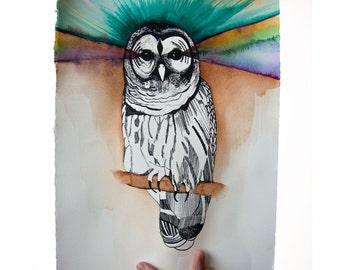 OOAK Owl Print Hand Painted
