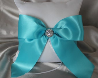 White or Cream Ring Bearer Pillow with Turquoise Satin Ribbon- Rhinestone Embellishments