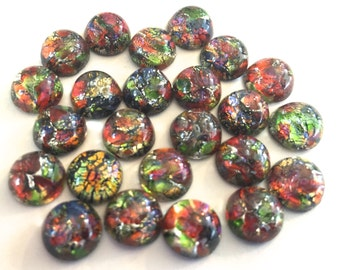 Vintage glass (6) cabs opal  foil inclusion rainbow Japan harlequin metallic confetti frit stone black glass domed round rhinestone 9mm (6)