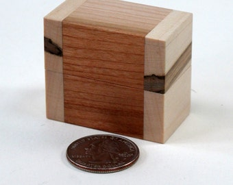 Wooden Ring Box, Cherry, Spalted Maple