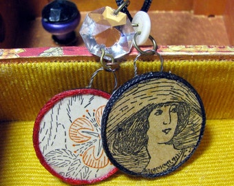 Antique Embroidery Lady and Flower 1900s Round Pendants Necklace Collage Decoupage Original Handmade Wearable Art