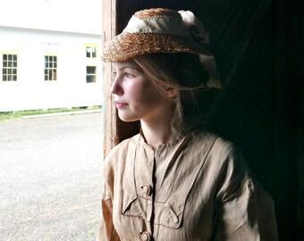 Antique Straw Bonnet Hat